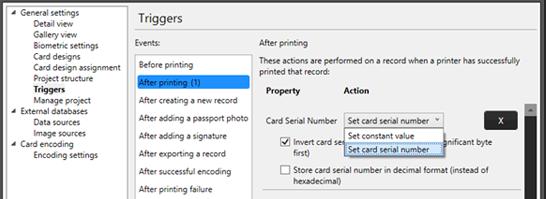 Step 4 Set the trigger to set card number